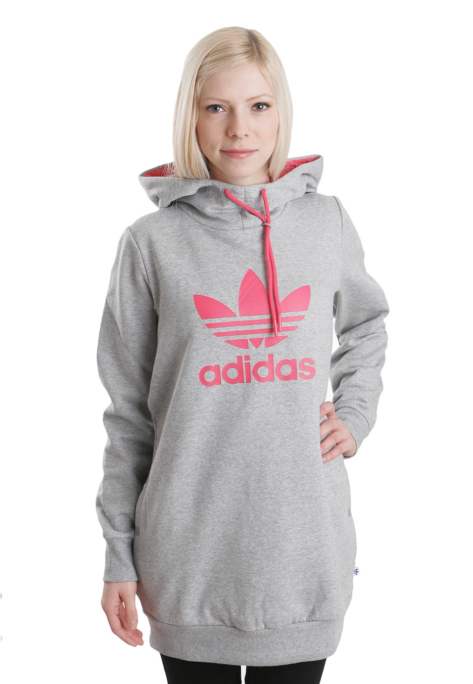 adidas long logo medium grey heather sweat a capuche femme boutique streetwear impericon. Black Bedroom Furniture Sets. Home Design Ideas