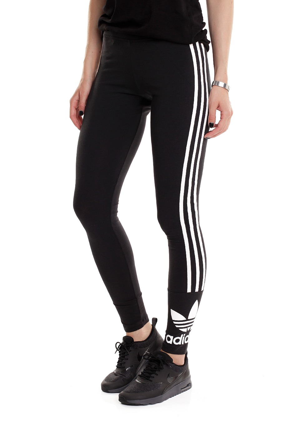 adidas trefoil stripes black core white leggings streetwear shop worldwide. Black Bedroom Furniture Sets. Home Design Ideas