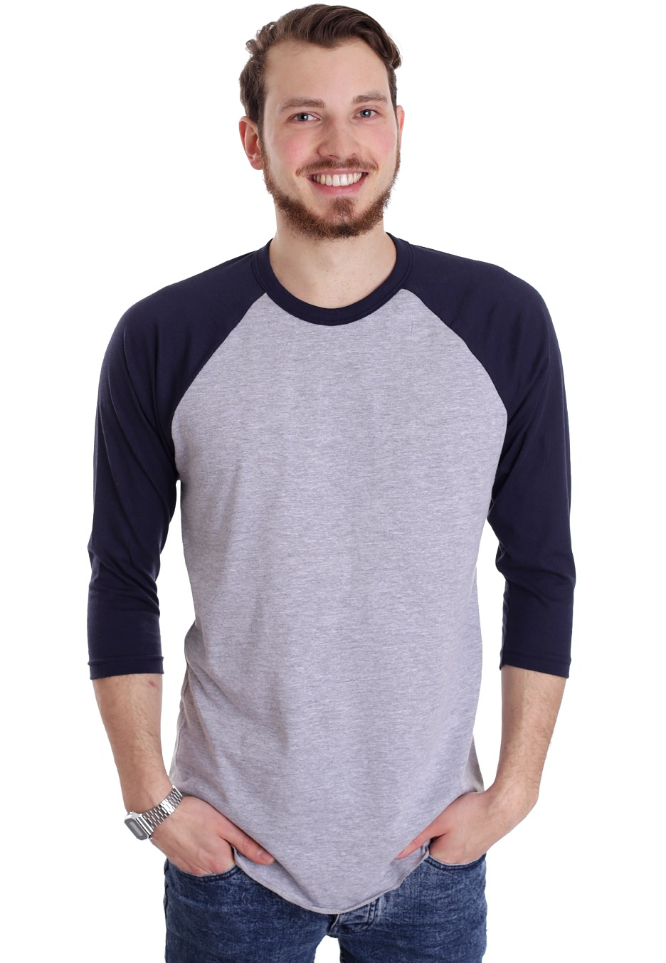 American Apparel - Raglan Heather Grey/Navy - Longsleeve ...
