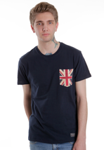 Ben Sherman - MB00089 Mod Fit Union Jack Pocket City Blue - T-Shirt
