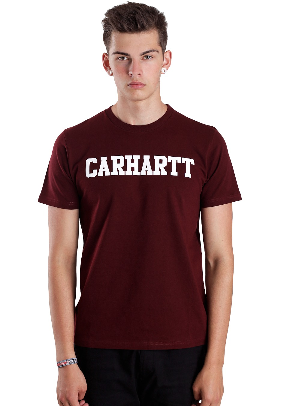carhartt wip college bordeaux white t shirt streetwear shop uk. Black Bedroom Furniture Sets. Home Design Ideas