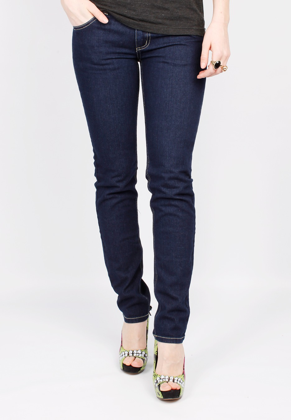 cheap monday zip low dark blue girl jeans impericon