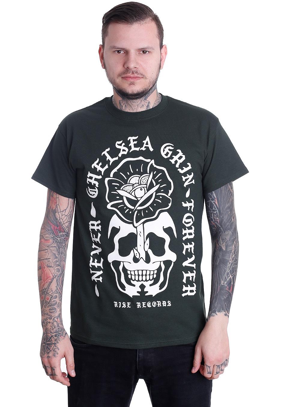 chelsea grin never forever forest green t shirt official metalcore merchandise shop. Black Bedroom Furniture Sets. Home Design Ideas