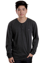 Cleptomanicx - Ligull Henley Heather Black - Longsleeve