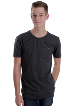 Cleptomanicx - Ligull Henley Heather Black - T-Shirt