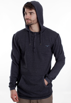 Cleptomanicx - Ligull Henley Heather Dark Navy - Hoodie