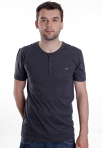 Cleptomanicx - Ligull Henley Heather Dark Navy - T-Shirt