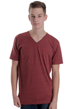 Cleptomanicx - Ligull Heather Dried Tomato - V Neck T-Shirt