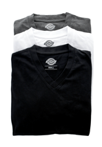 Dickies - Dickies Multi Color Pack Of 3 White/Grey/Black - V Neck T-Shirt