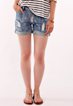 Drop Dead - Worn N Torn Light Denim - Girl Short