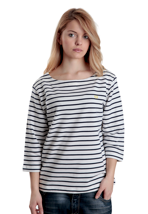 Fred Perry - 3/4 Sleeve Breton Stripe Snow White - Girl Sweater