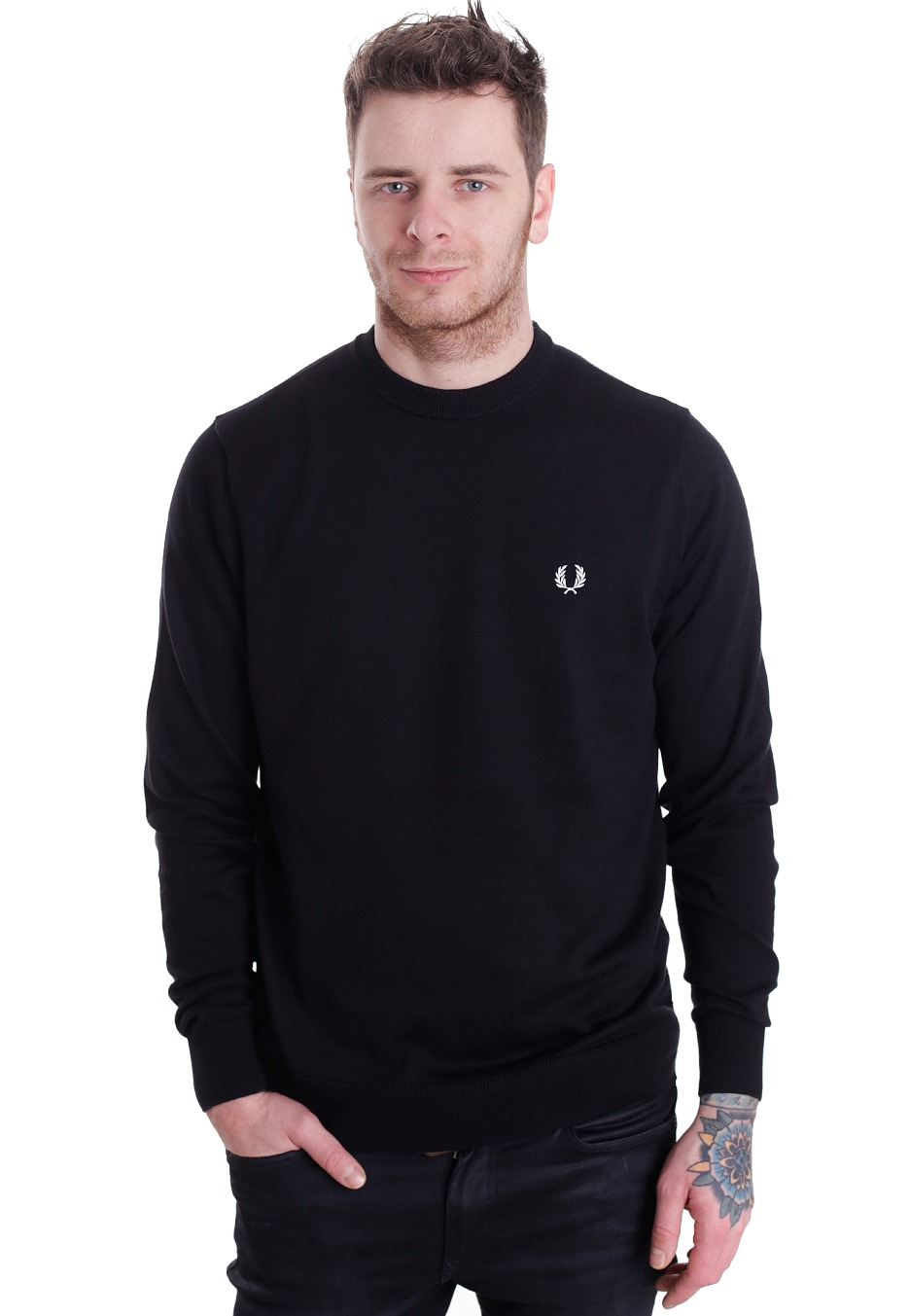fred perry classic cotton crew neck pullover. Black Bedroom Furniture Sets. Home Design Ideas