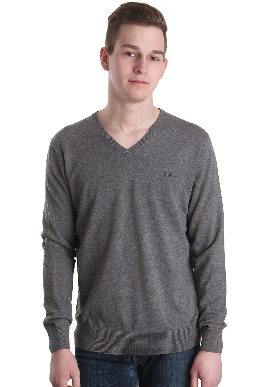 fred perry classic tipped grey marl pullover. Black Bedroom Furniture Sets. Home Design Ideas