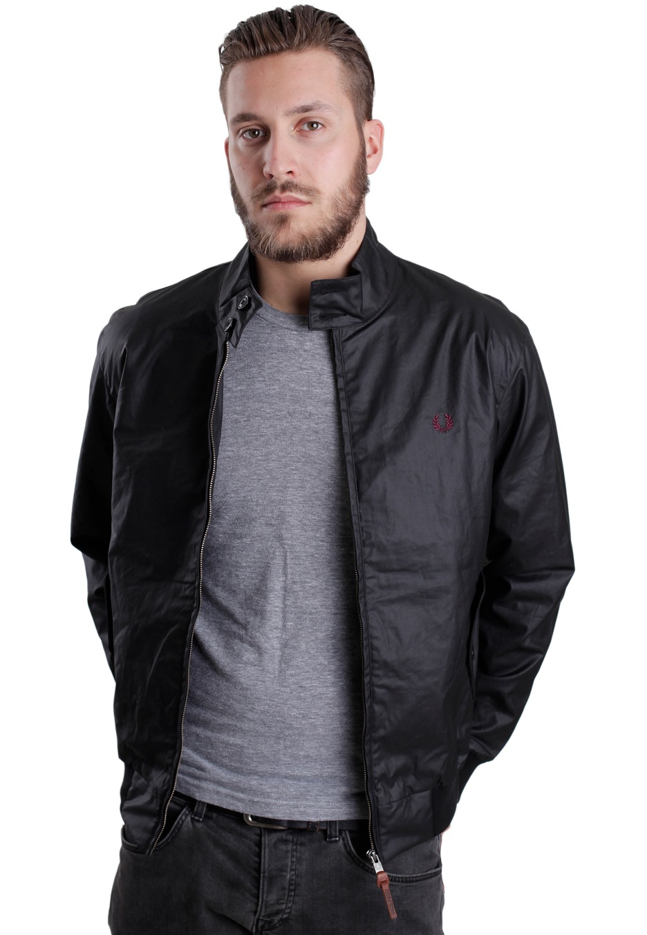 fred perry coated twill harrington jacke streetwear. Black Bedroom Furniture Sets. Home Design Ideas