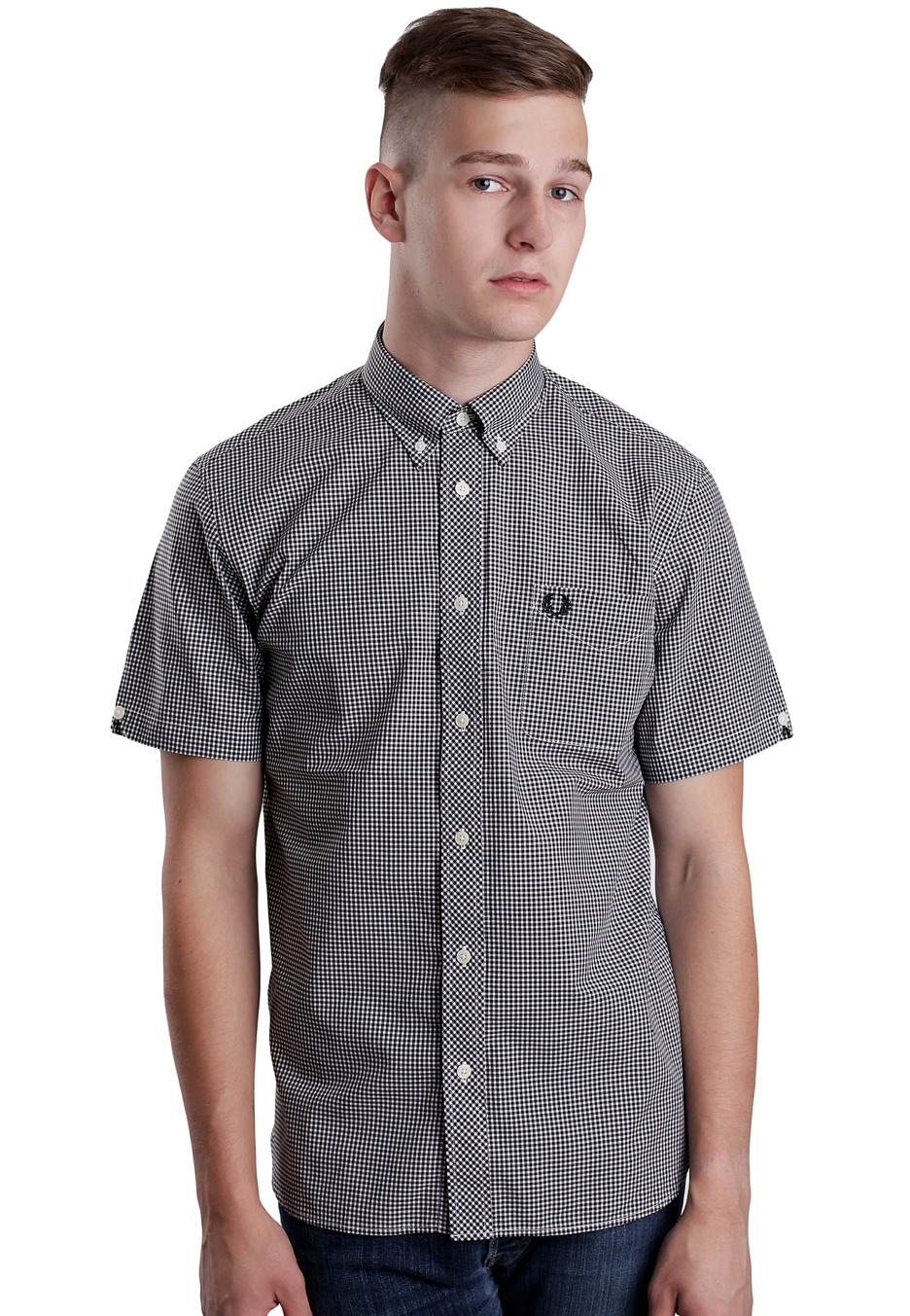 fred perry gingham s s shirt streetwear shop. Black Bedroom Furniture Sets. Home Design Ideas
