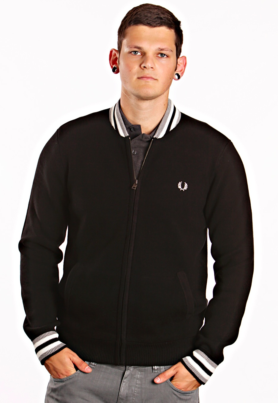 fred perry knitted bomber jacket streetwear shop worldwide