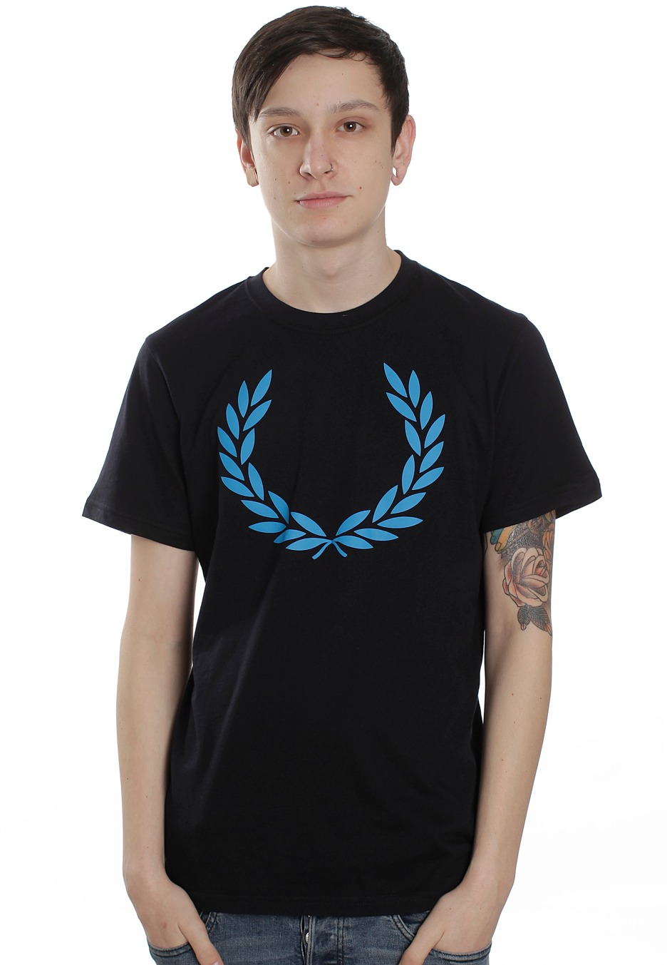 fred perry laurel print navy t shirt streetwear shop impericon. Black Bedroom Furniture Sets. Home Design Ideas
