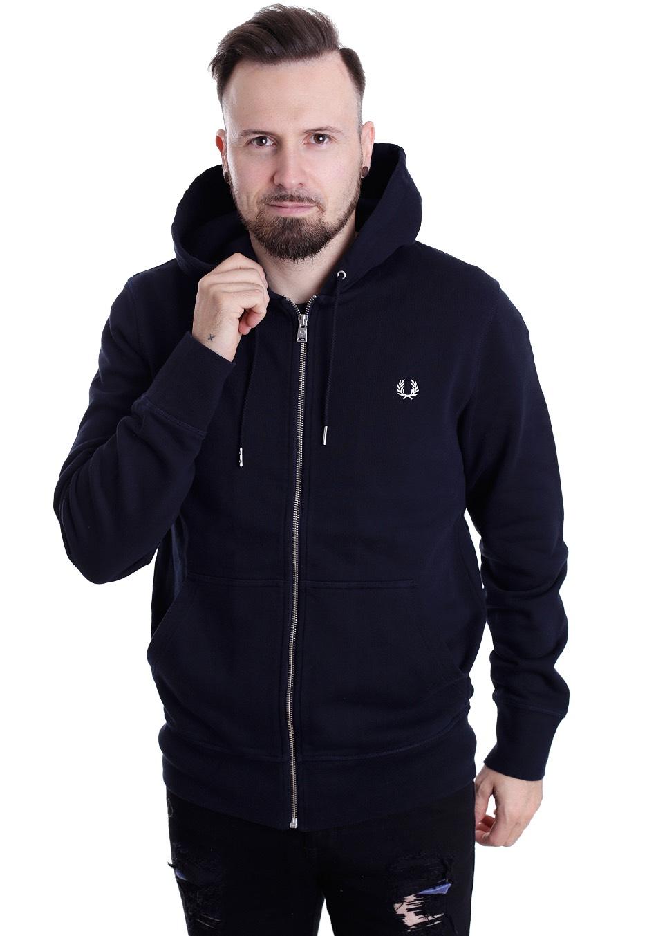 fred perry loopback hooded sweat navy chaqueta con cremallera tienda de marcas impericon. Black Bedroom Furniture Sets. Home Design Ideas