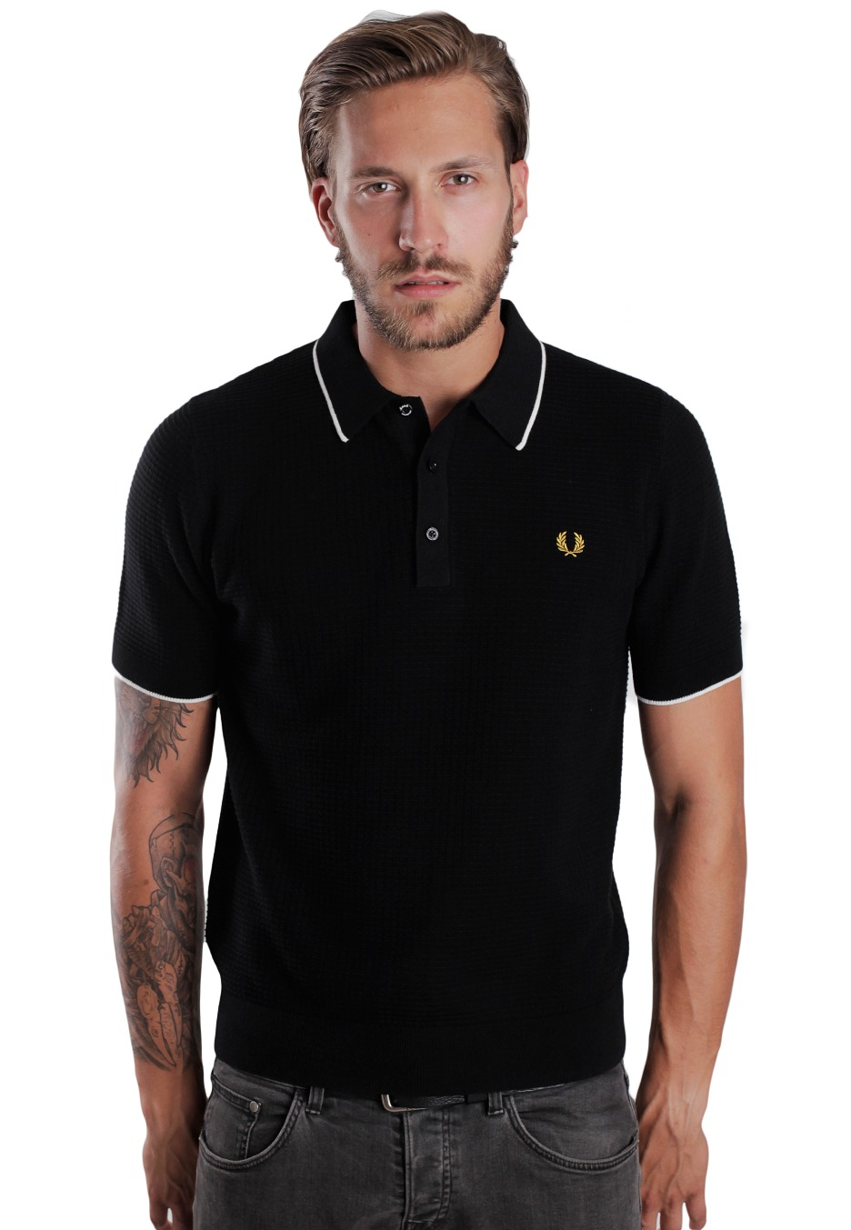 fred perry marshall textured knitted polo streetwear. Black Bedroom Furniture Sets. Home Design Ideas