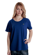 Fred Perry - Oversize Garment Dye Stripe Bold Blue - Girly