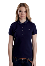 Fred Perry - Polka Dot Print Flat Knit Carbon Blue - Girl Polo
