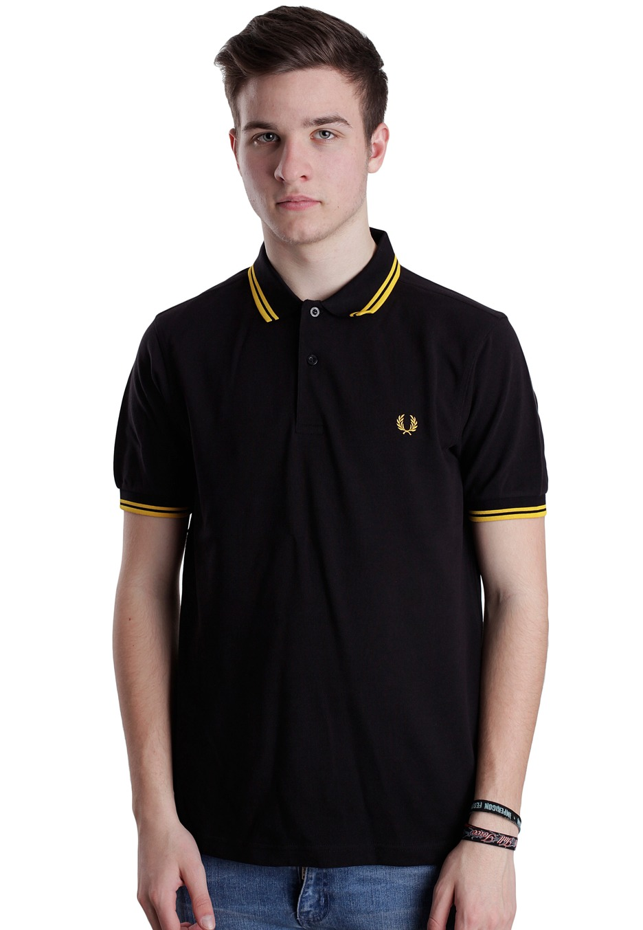 fred perry slim fit twin tipped black new yellow polo streetwear shop de. Black Bedroom Furniture Sets. Home Design Ideas