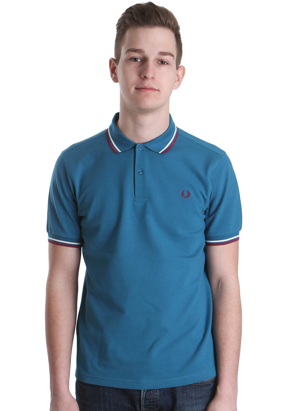 fred perry slim fit twin tipped enamel blue polo streetwear shop worldwide. Black Bedroom Furniture Sets. Home Design Ideas