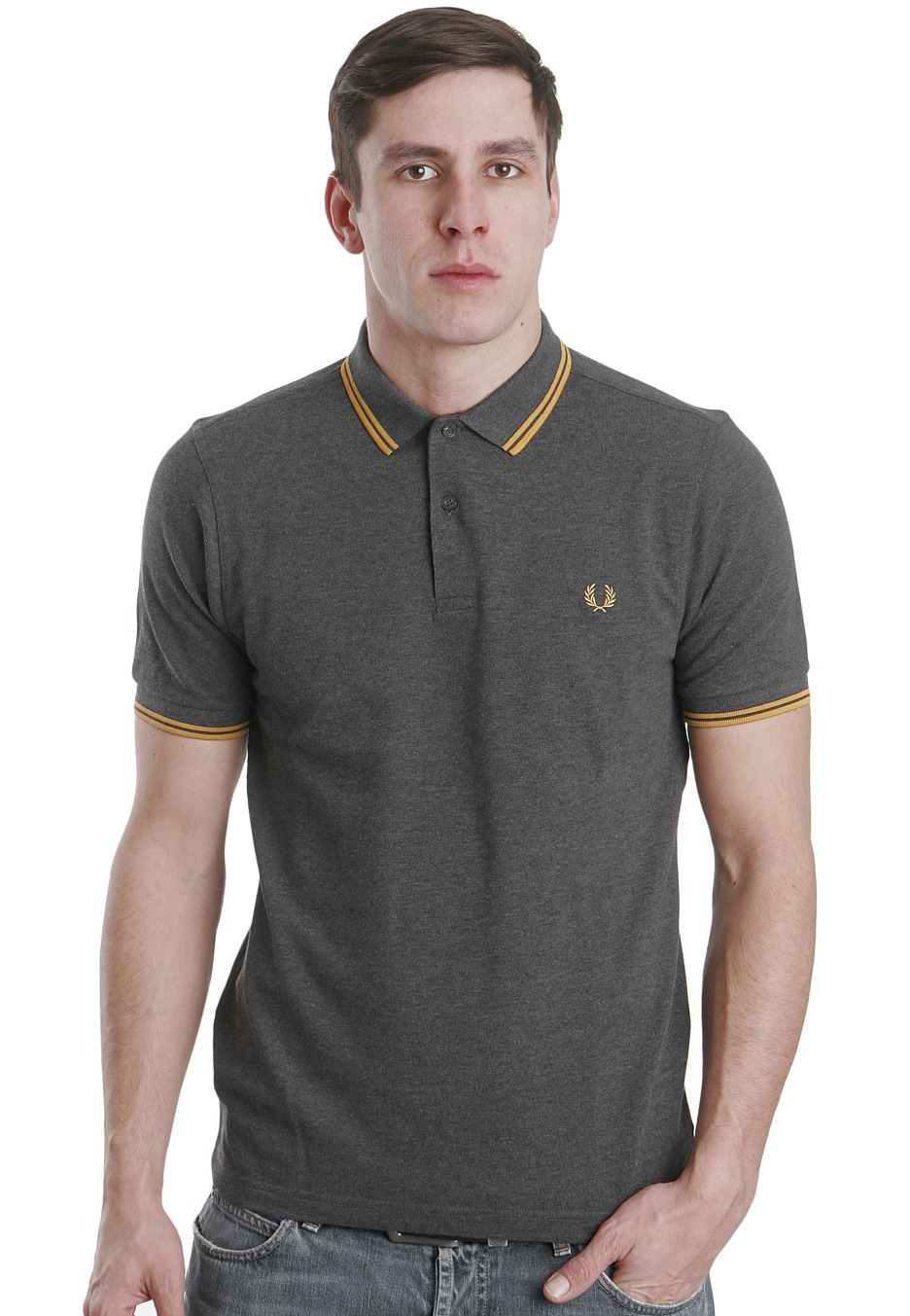 fred perry slim fit twin tipped graphite marl polo. Black Bedroom Furniture Sets. Home Design Ideas