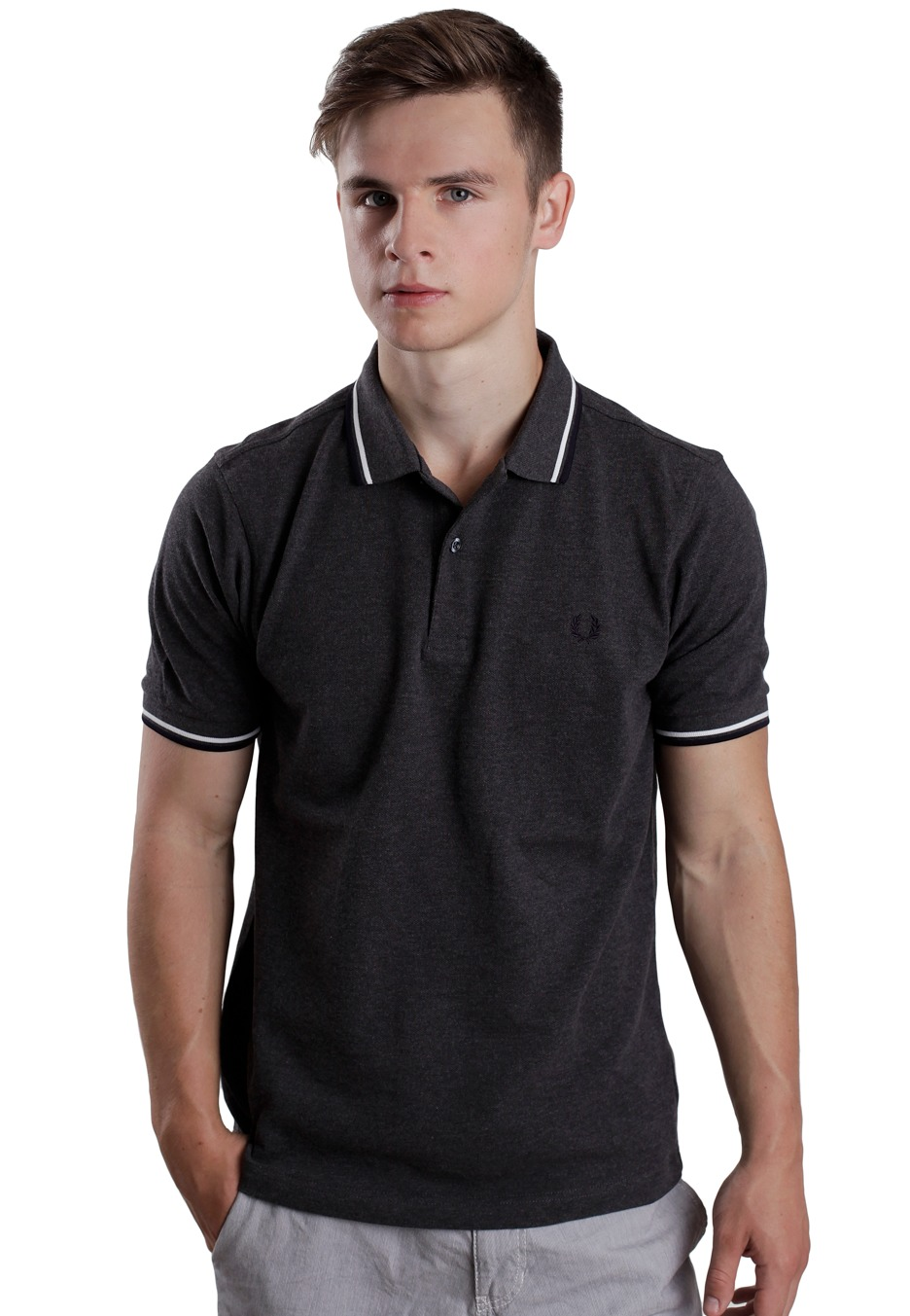 fred perry slim fit twin tipped graphite marl porcelain navy polo streetwear shop. Black Bedroom Furniture Sets. Home Design Ideas