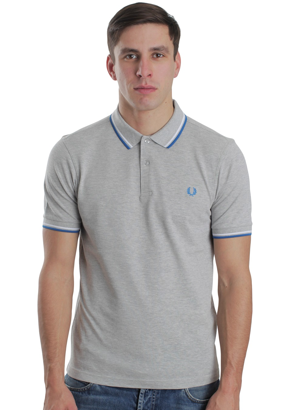 fred perry slim fit twin tipped marl grey polo streetwear shop worldwide. Black Bedroom Furniture Sets. Home Design Ideas