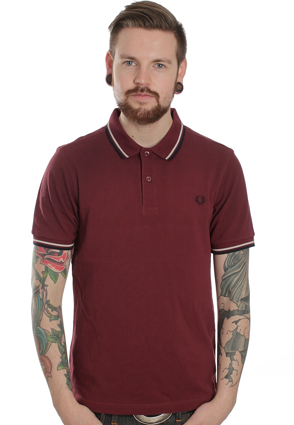 fred perry slim fit twin tipped maroon polo. Black Bedroom Furniture Sets. Home Design Ideas