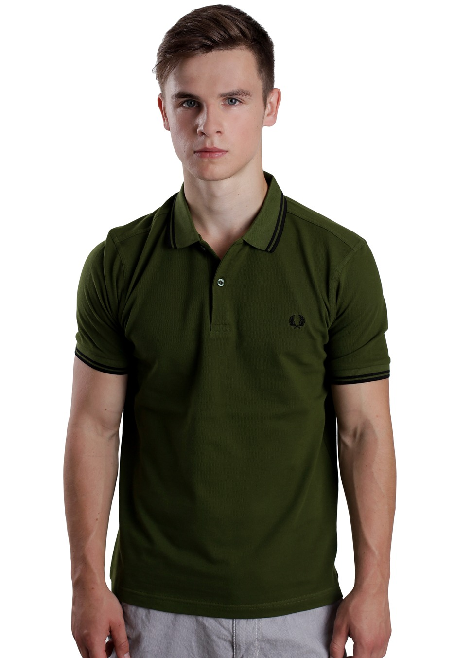 fred perry slim fit twin tipped olive 1964 polo. Black Bedroom Furniture Sets. Home Design Ideas