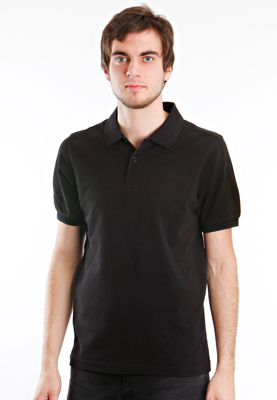 fred perry slim fit twin tipped black black polo. Black Bedroom Furniture Sets. Home Design Ideas