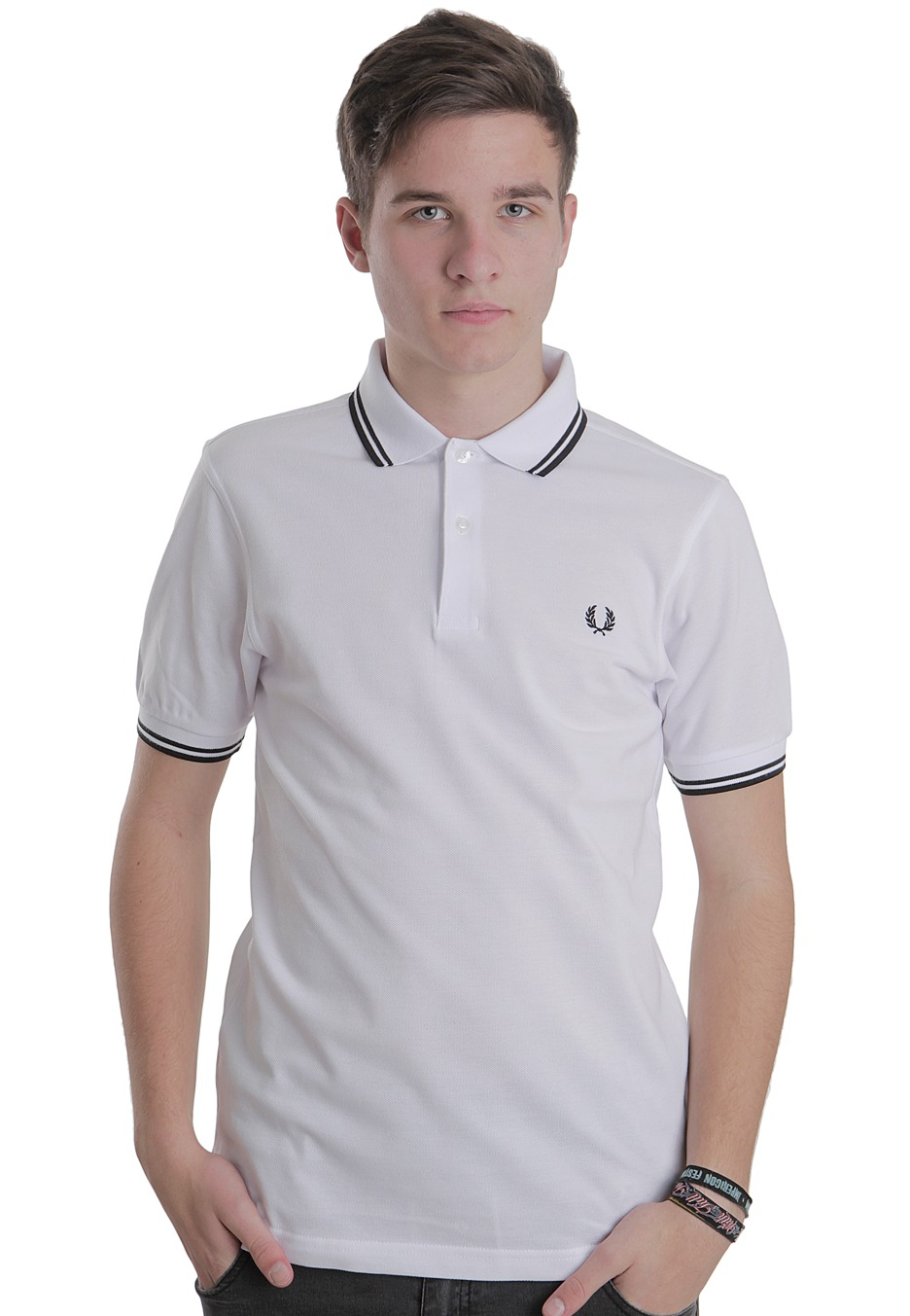 fred perry slim fit twin tipped white polo boutique streetwear fr. Black Bedroom Furniture Sets. Home Design Ideas