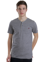 Fred Perry - Stripe Y Neck Vintage Steel Marl Medieval Blue - T-Shirt