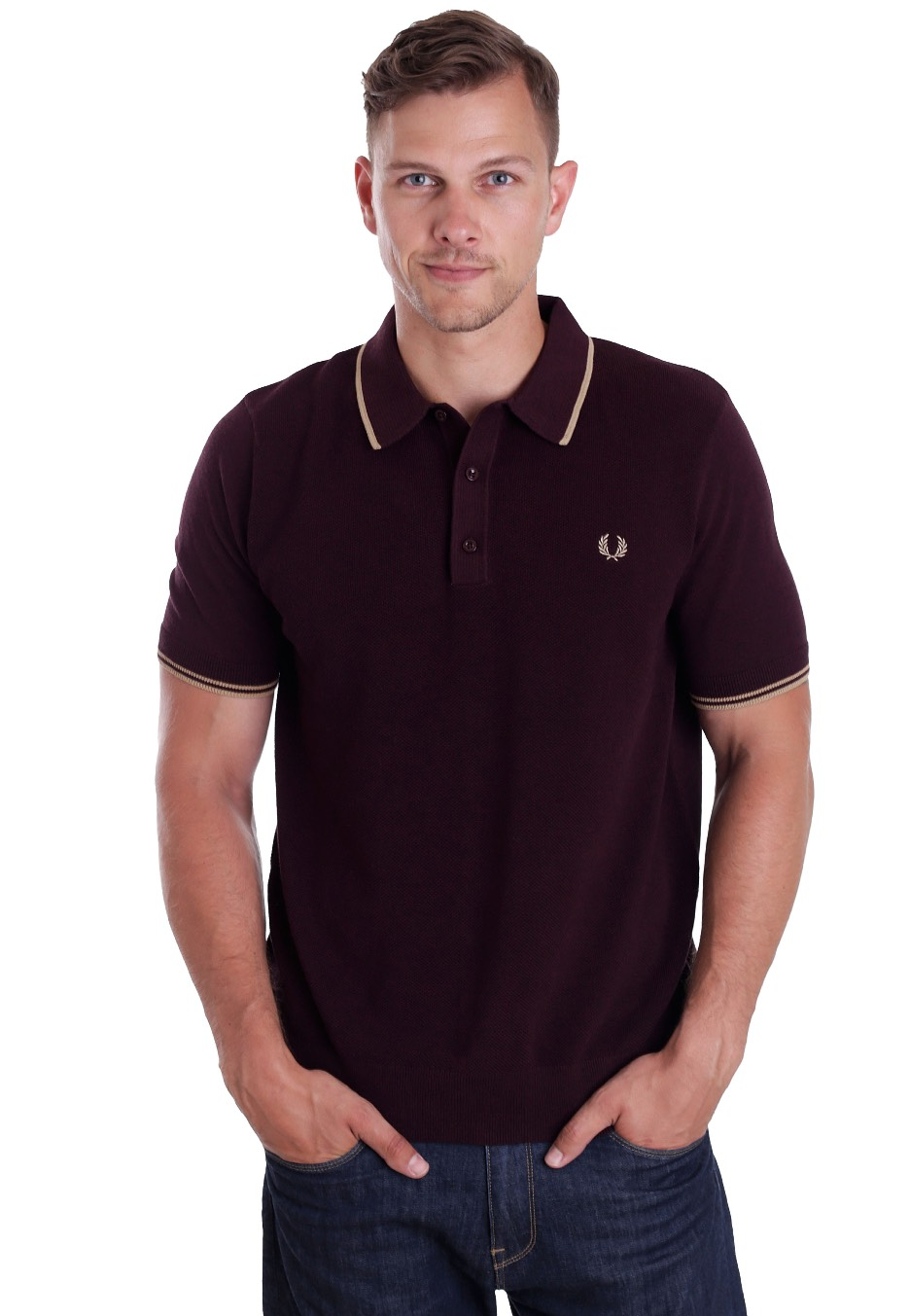 fred perry tipped knitted port marl polo streetwear. Black Bedroom Furniture Sets. Home Design Ideas