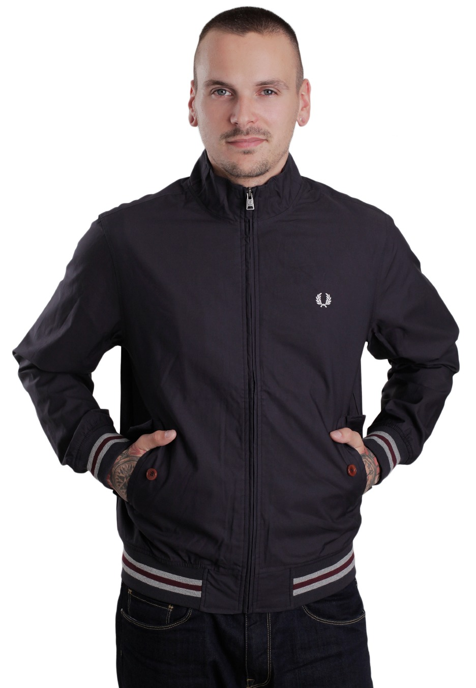 fred perry tipped bomber navy jacket streetwear shop. Black Bedroom Furniture Sets. Home Design Ideas