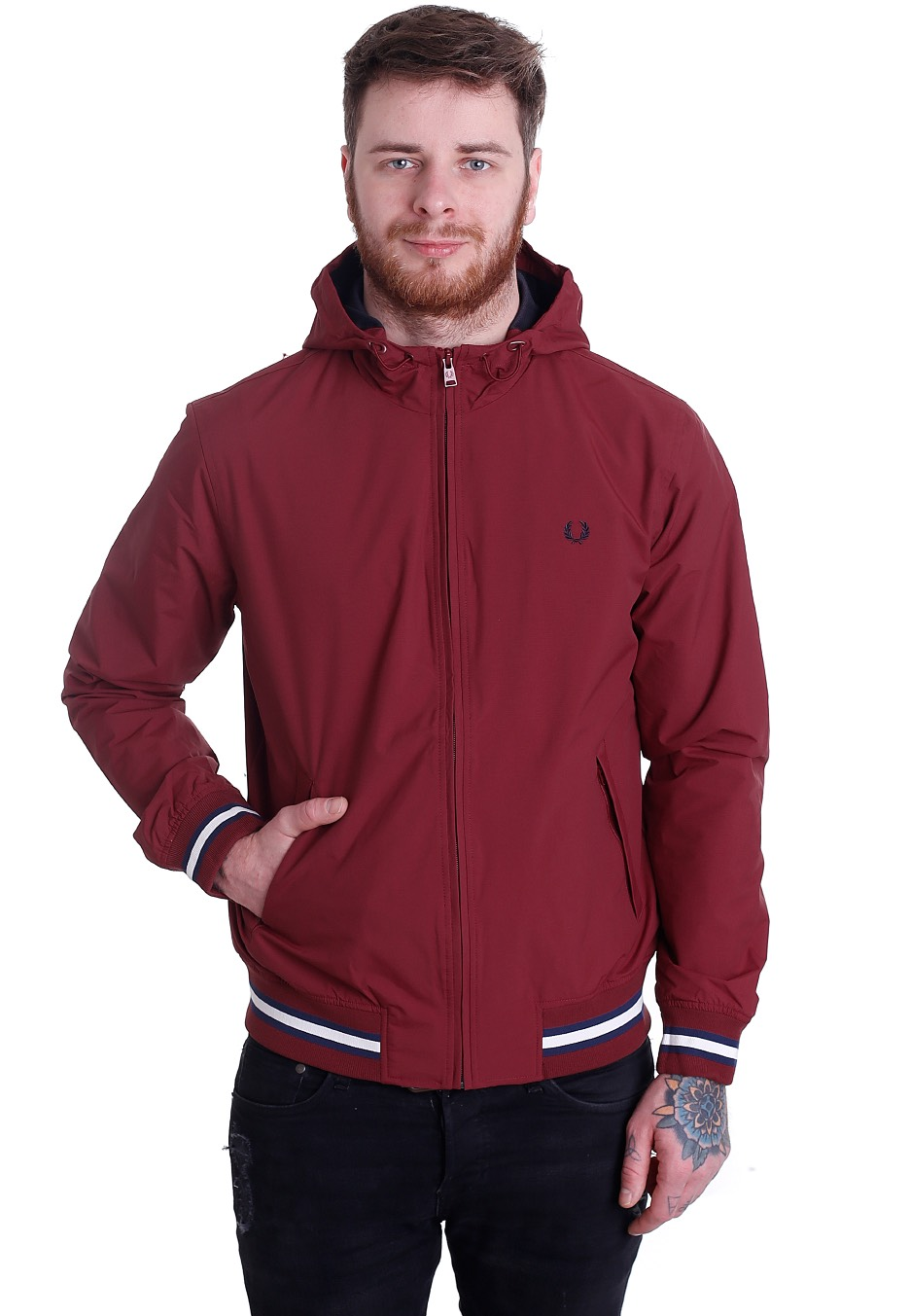 fred perry tipped hooded brentham rich red jacket. Black Bedroom Furniture Sets. Home Design Ideas