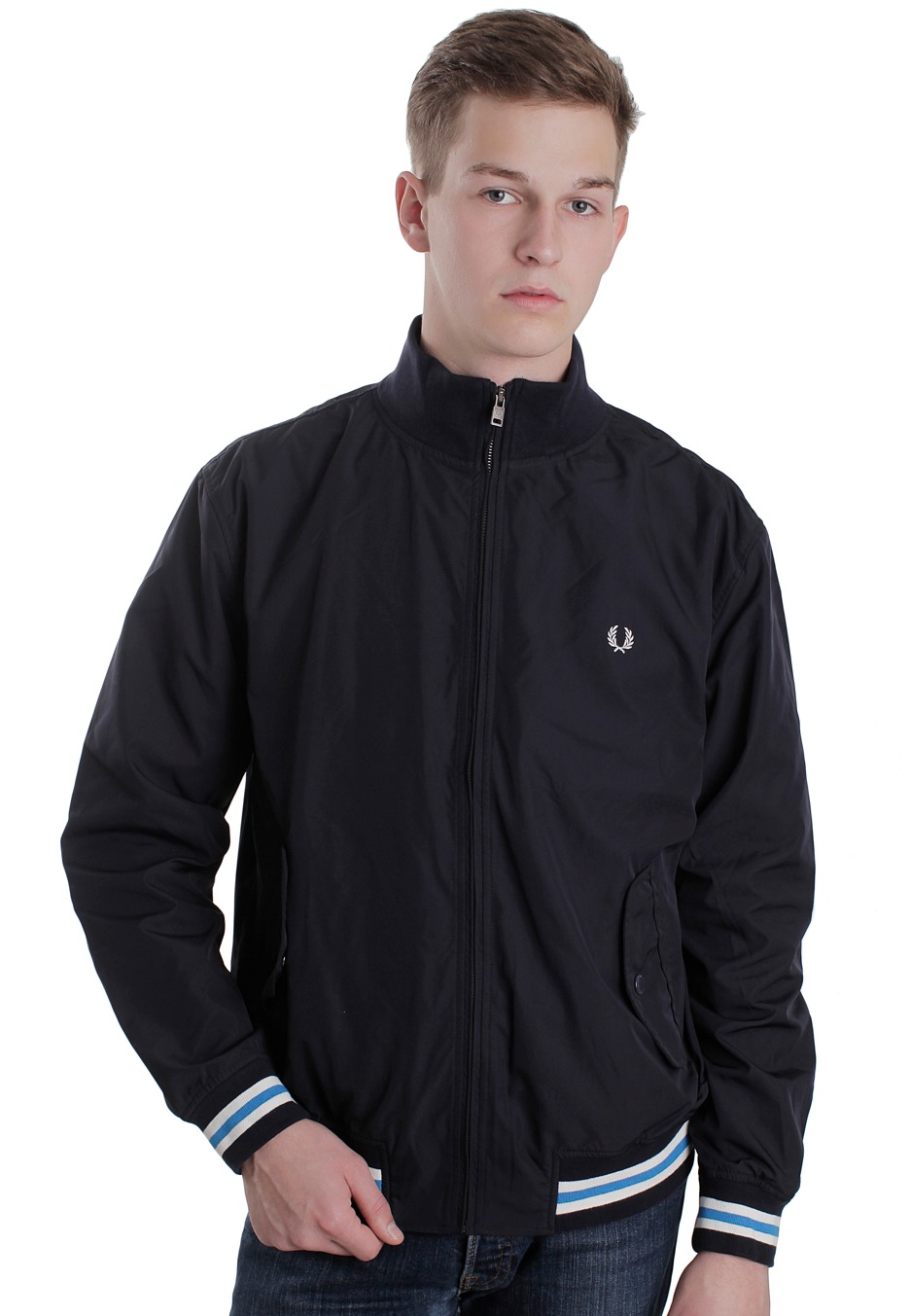 fred perry tipped microfibre navy white jacket streetwear shop worldwide. Black Bedroom Furniture Sets. Home Design Ideas