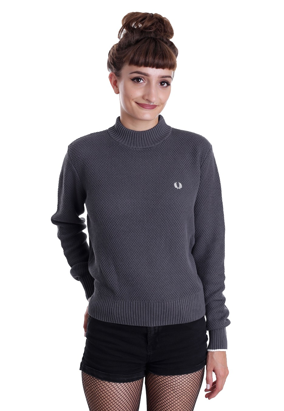 fred perry turtle neck boxy smoked marl pullover streetwear shop worldwide. Black Bedroom Furniture Sets. Home Design Ideas