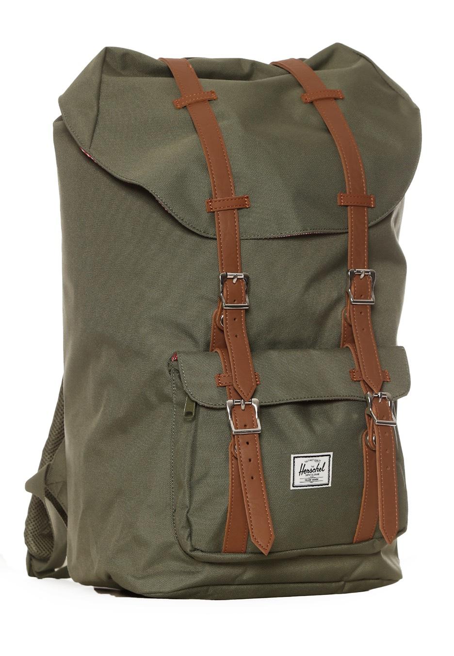 herschel little america deep lichen green tan synthetic leather backpack streetwear shop. Black Bedroom Furniture Sets. Home Design Ideas