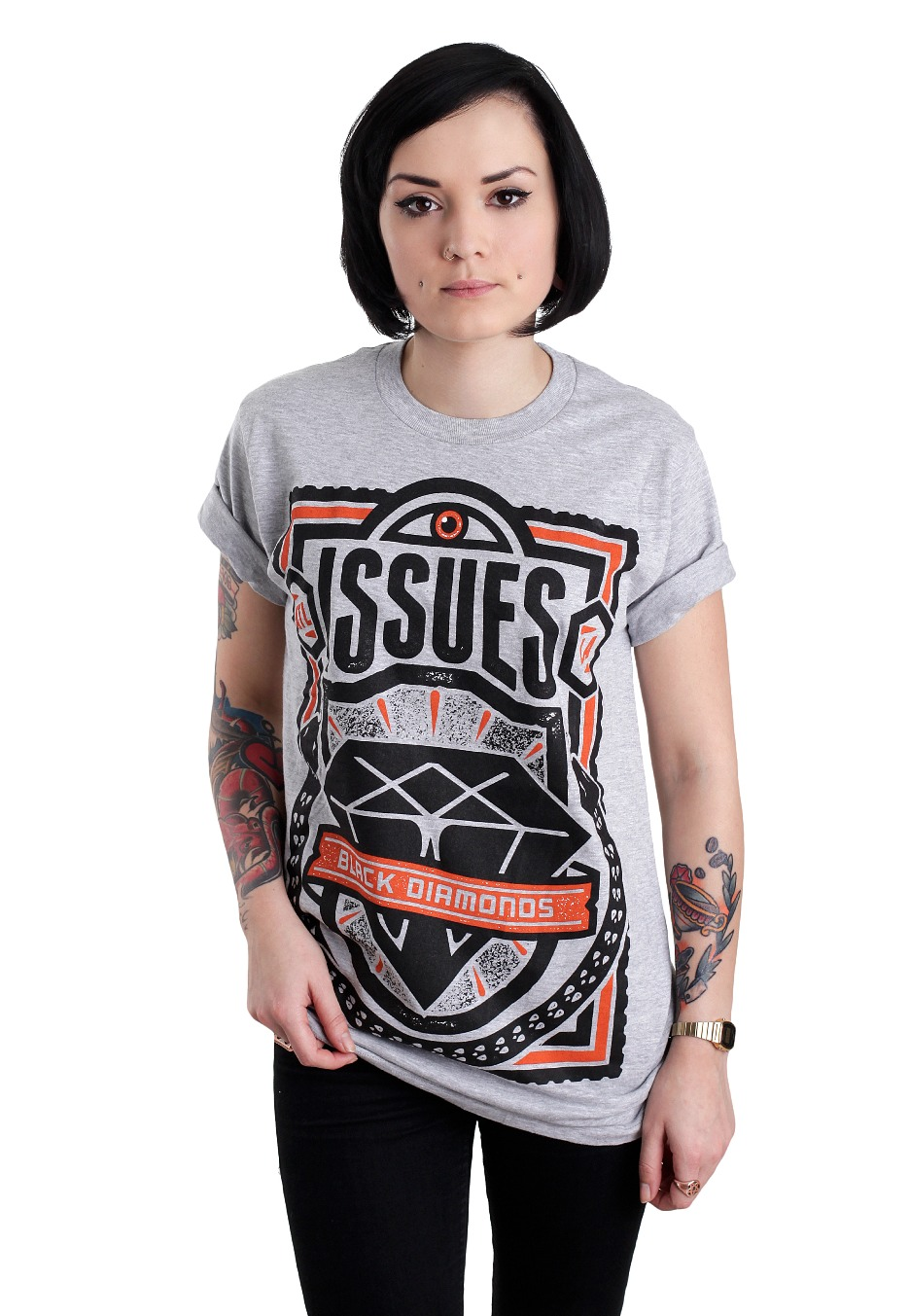 Issues Black Diamonds Heather Grey T Shirt Official