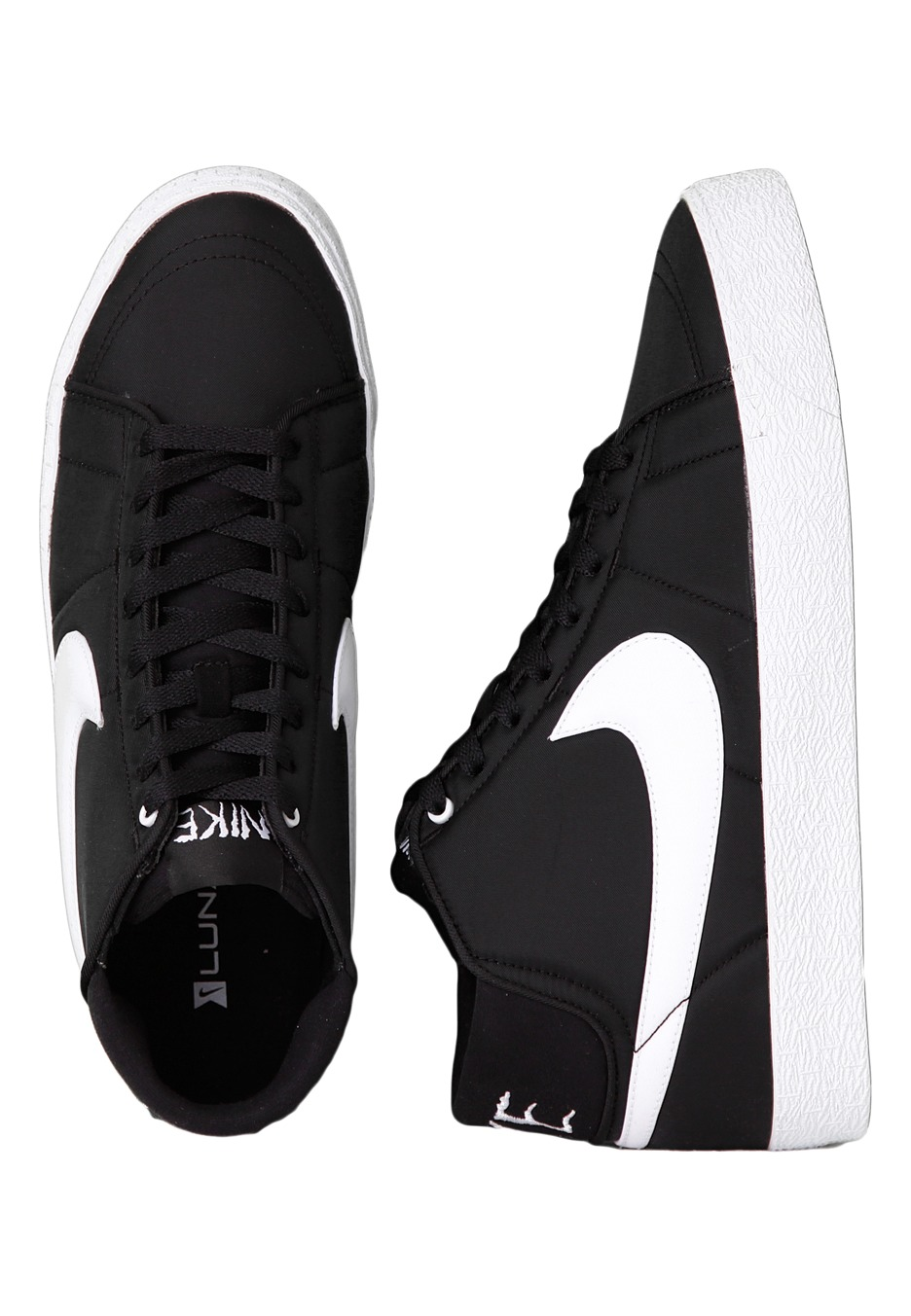 nike blazer mid lr nf black white shoes impericon uk