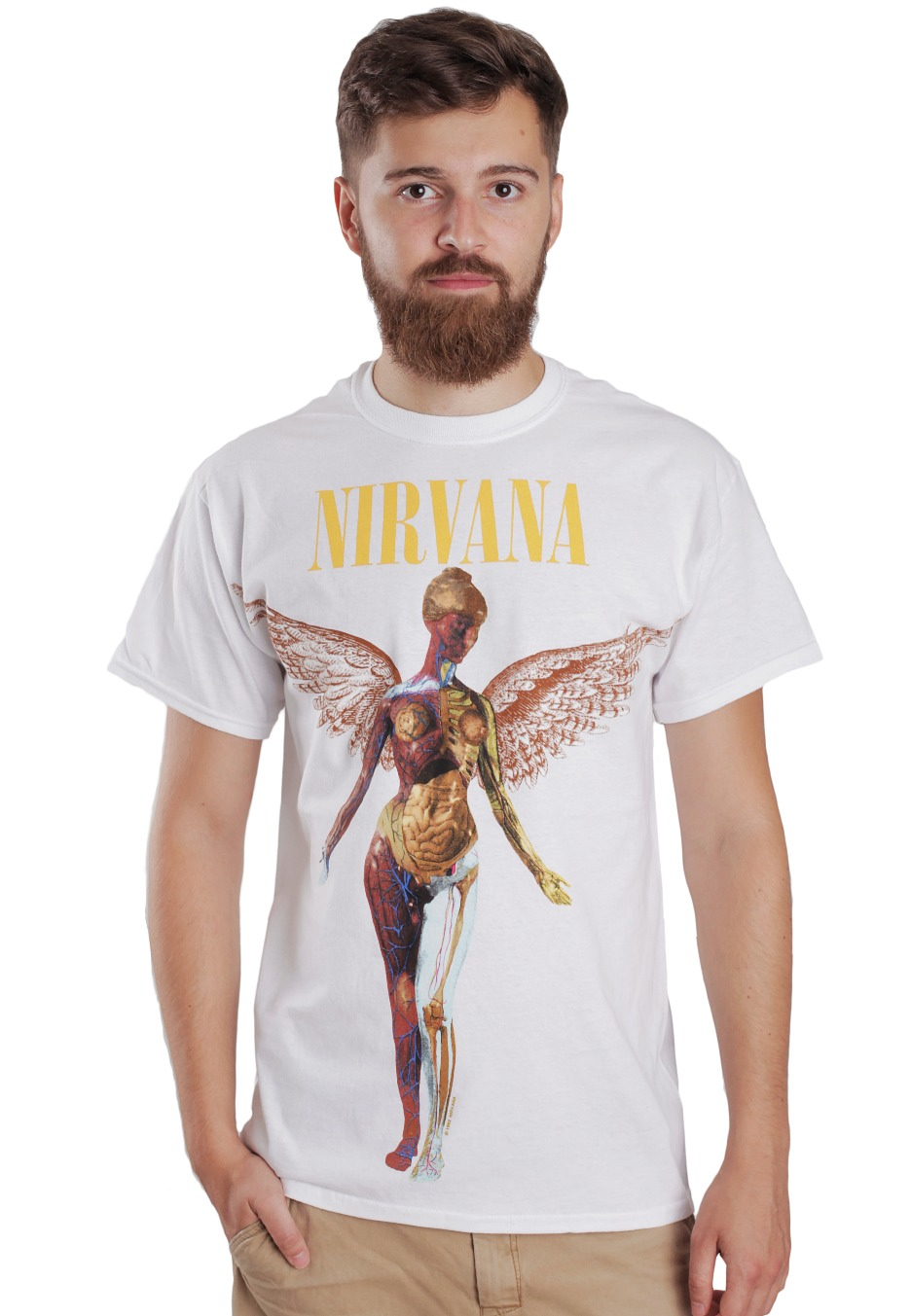 nirvana in utero white t shirt official rock. Black Bedroom Furniture Sets. Home Design Ideas