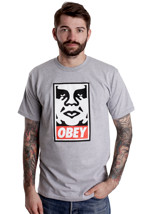 Obey - Obey Icon Face Heather Grey - T-Shirt