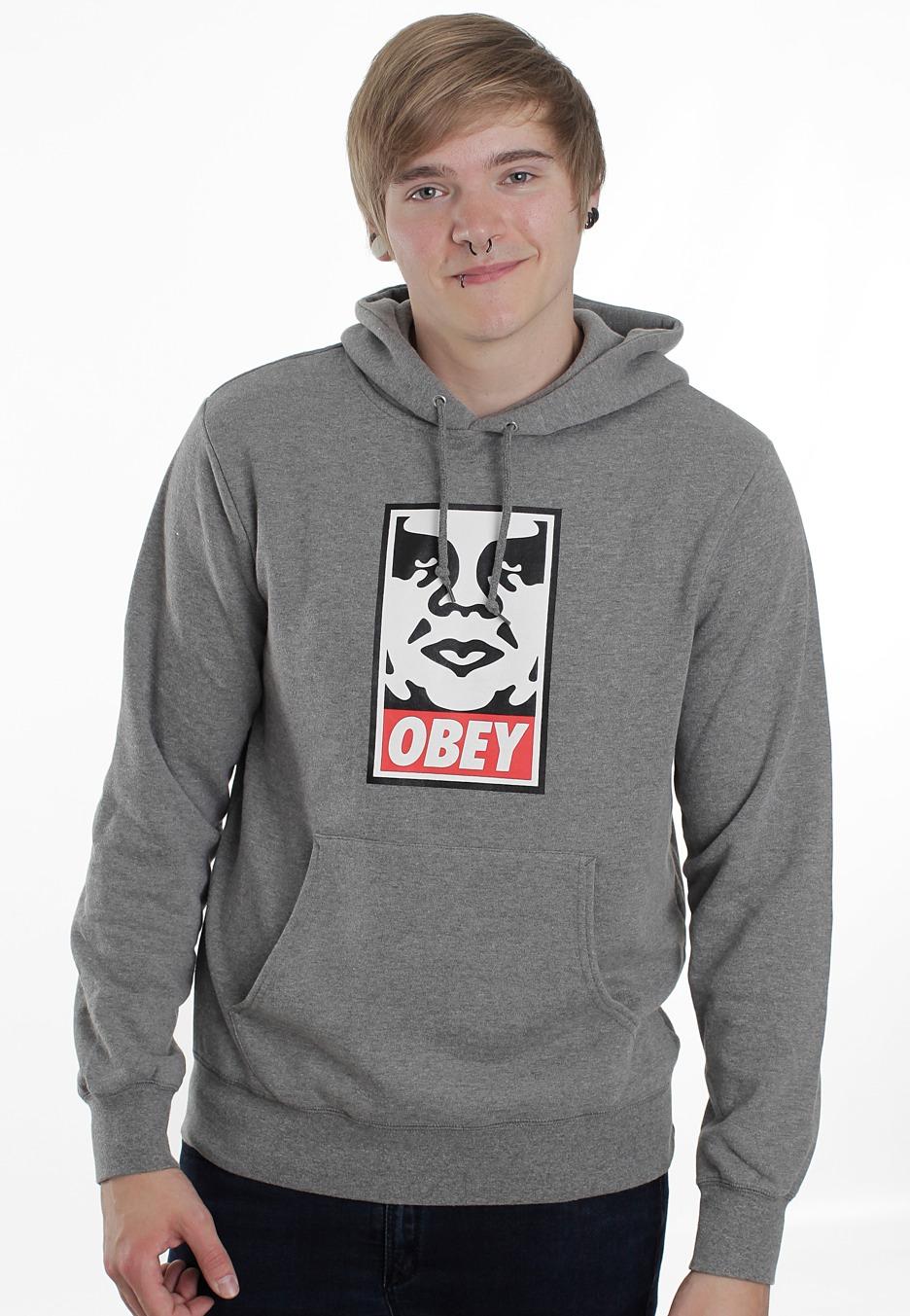 Obey - OG Face Heather Grey - Hoodie - Streetwear Shop ...