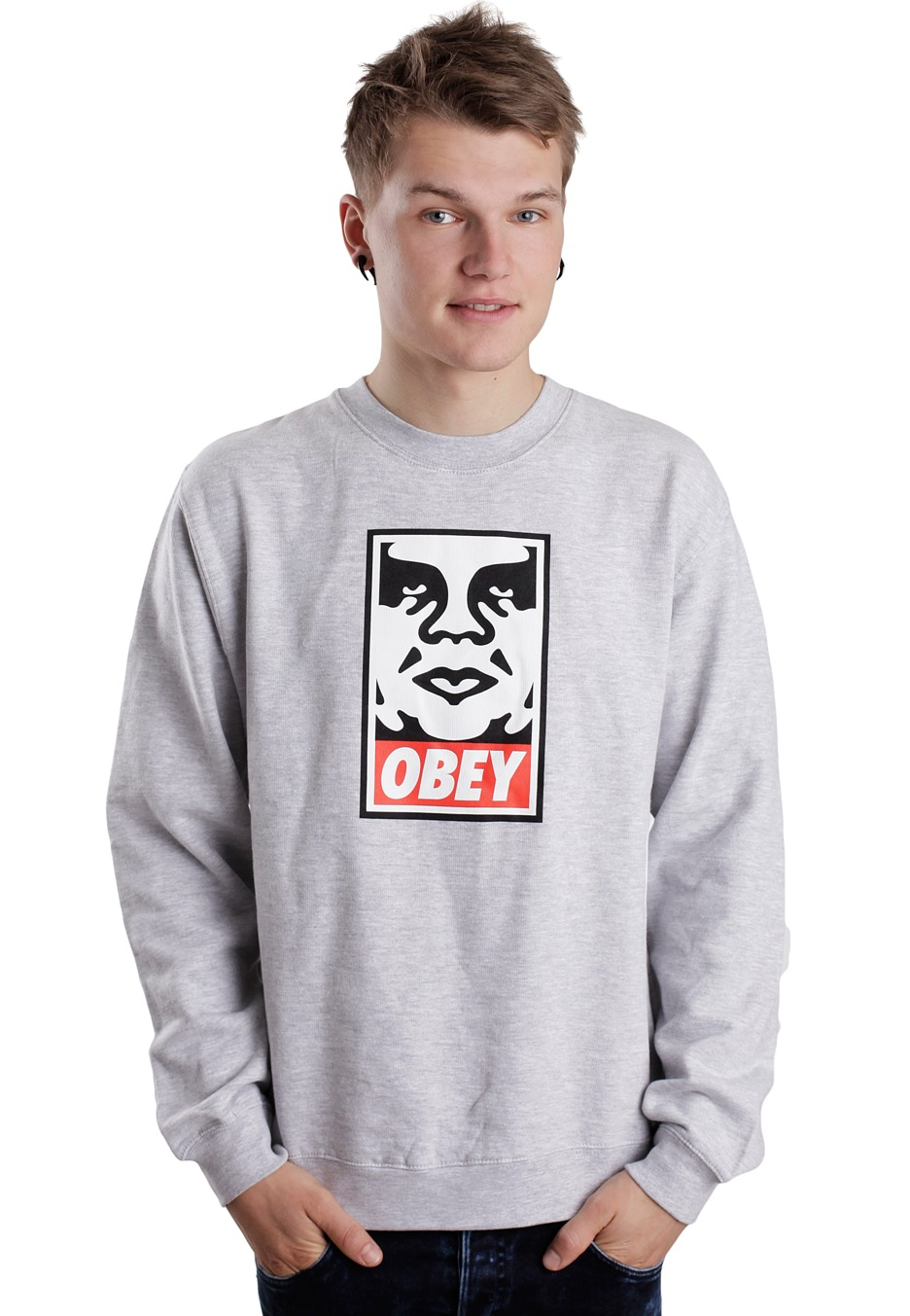 Obey - OG Face Heather Grey - Sweater - Streetwear Shop ...