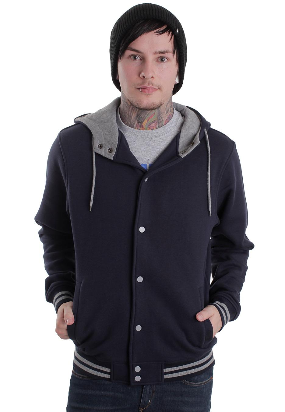 urban classics hooded navy grey college jacket. Black Bedroom Furniture Sets. Home Design Ideas