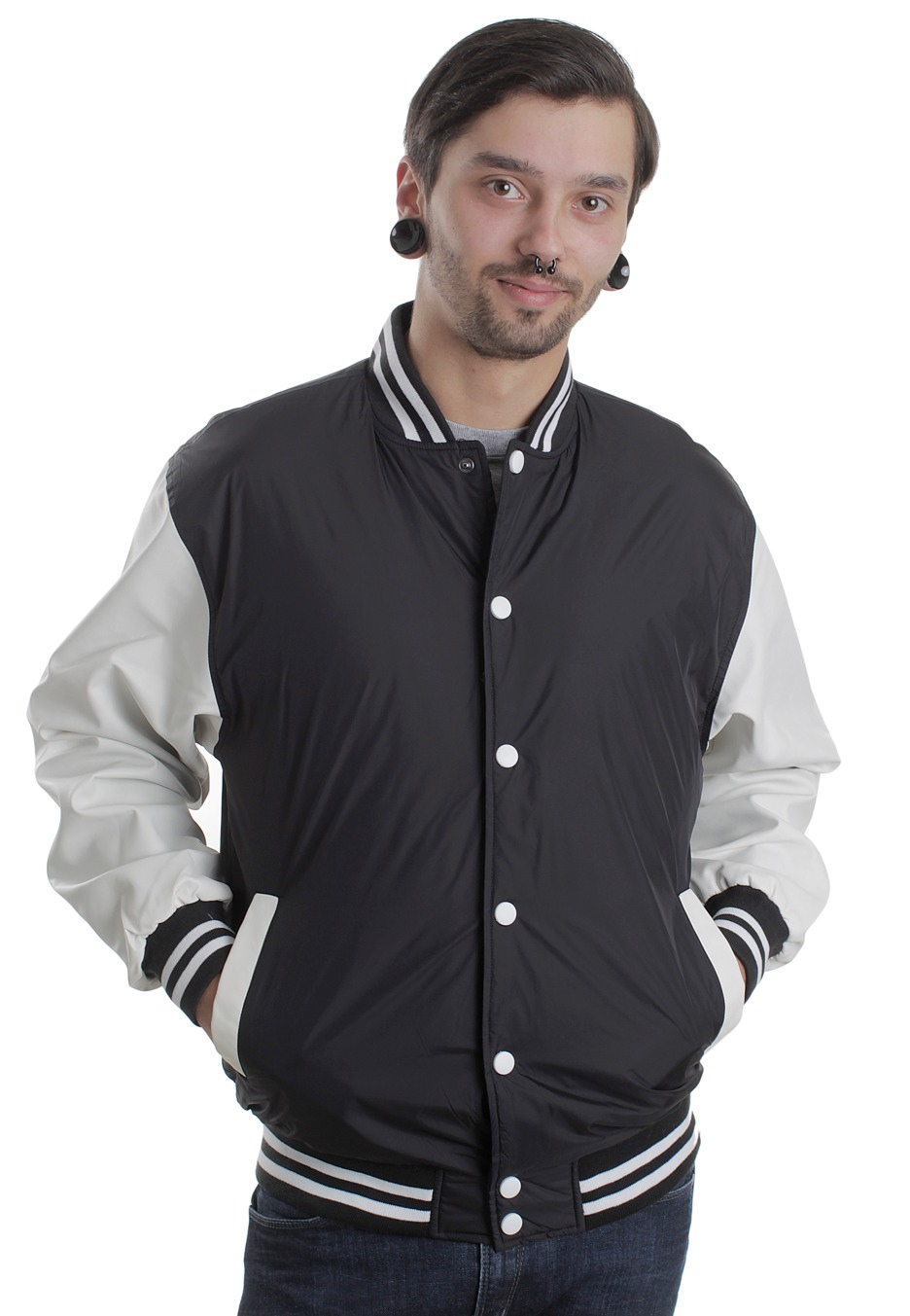 urban classics light black white college jacket. Black Bedroom Furniture Sets. Home Design Ideas