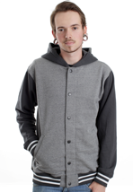 Vans - University Gravel Heather/New Charcoal Heather - Hooded College Jacket